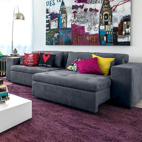 Como escolher almofadas para um sof cinza clique for Chaise longue azul turquesa