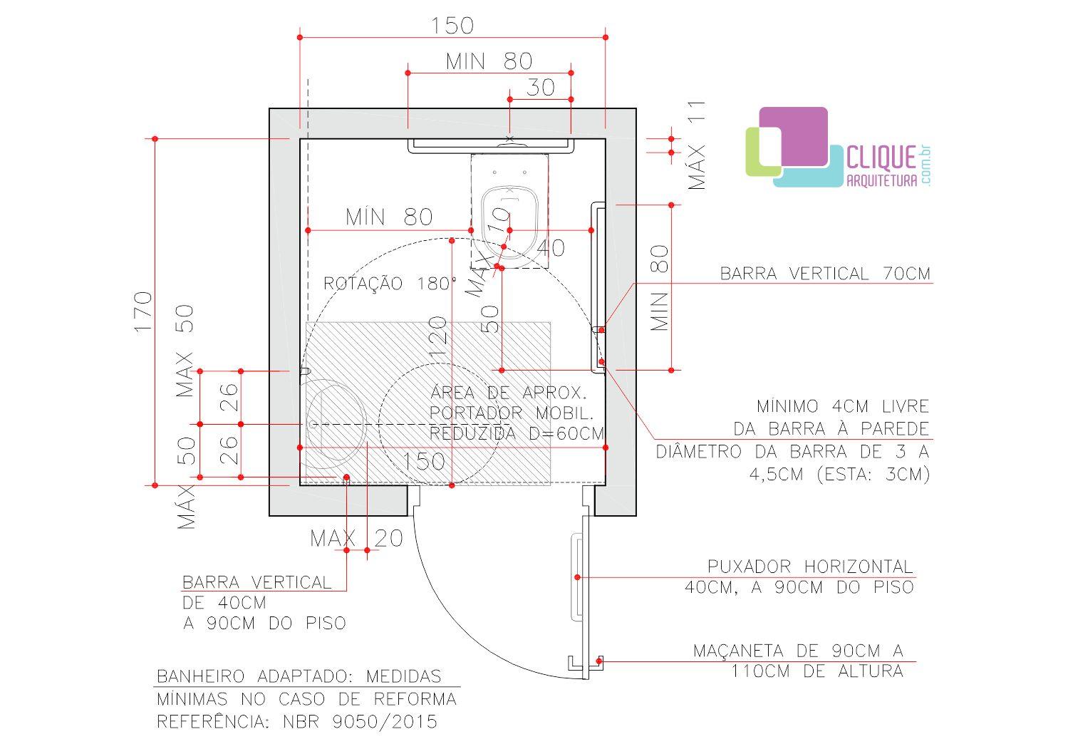 Banheiro acessível com medidas mínimas no caso de uma reforma  #B71415 1499 1051