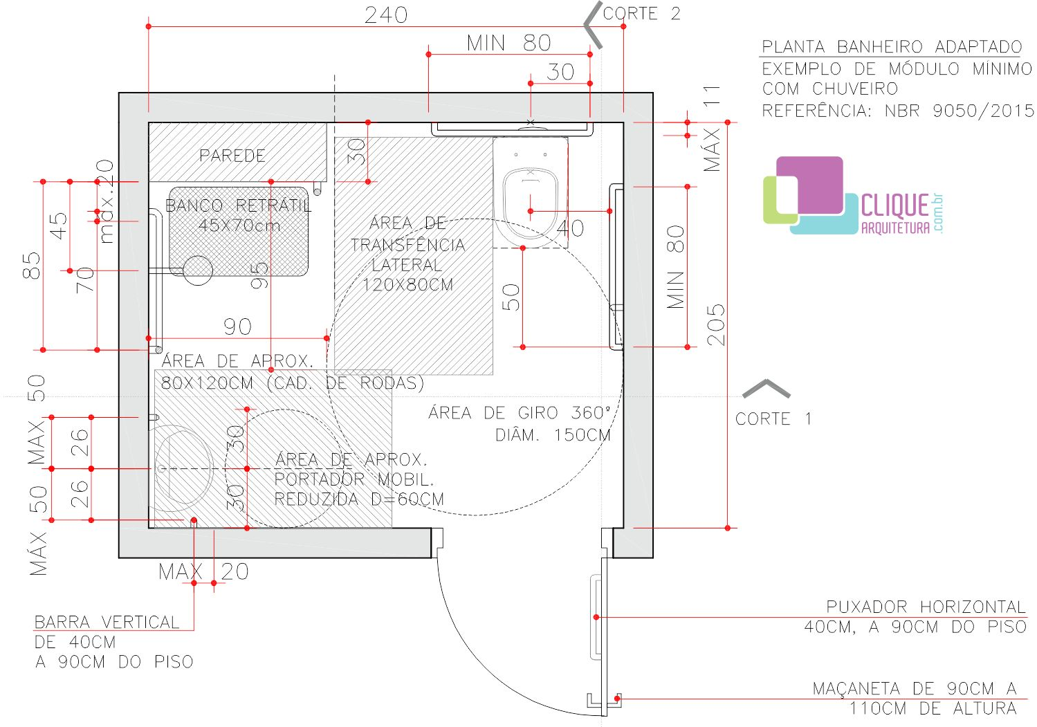 Planta de um banheiro adaptado com bacia lavatório e ducha. Usando  #BA1112 1499 1051