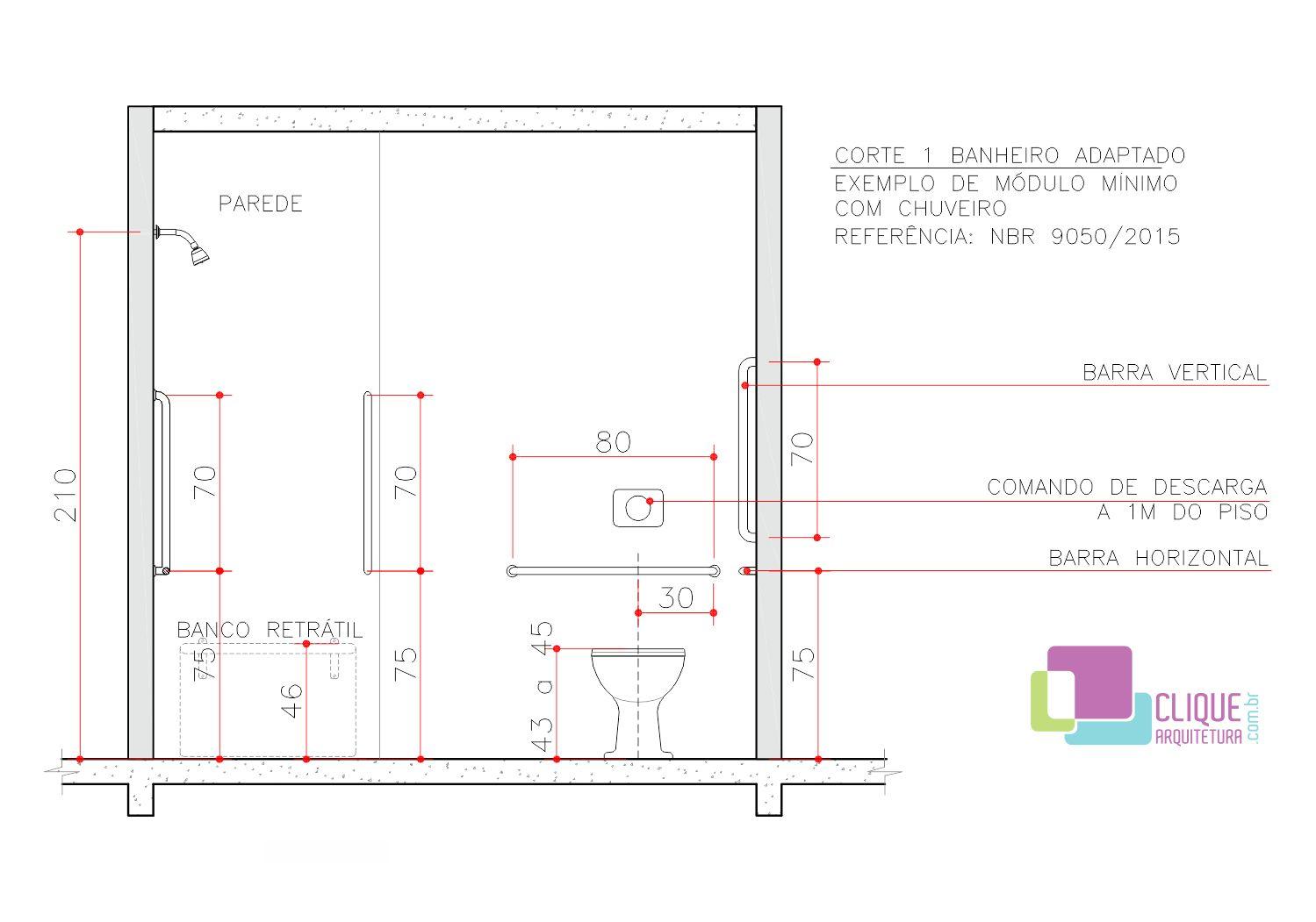 Planta de um banheiro adaptado com bacia lavatório e ducha. Usando  #B61517 1499 1051