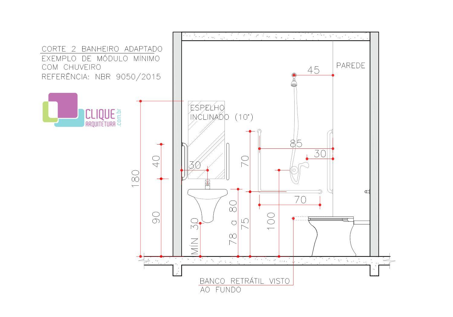 mínimas e indicadas para itens em um banheiro acessível com chuveiro  #B91214 1499x1051 Banheiro Adaptado Com Chuveiro