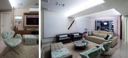 Esta sala, projetada pelos arquitetos Iris Filomena e Marcos Vaz, utiliza  um tapete com relevo na sua decoração. Ele é um elemento neutro que une as  peças ... da5d0dec7f