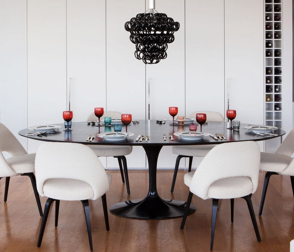 Mesa Saarinen De Jantar Clique Arquitetura Seu Portal De Ideias  -> Sala De Jantar Pequena Com Mesa De Marmore