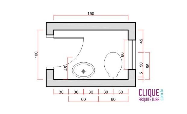 Banheiro Ergonomia & Circulação  Clique Arquitetura -> Tamanho Minimo De Banheiro Com Banheira
