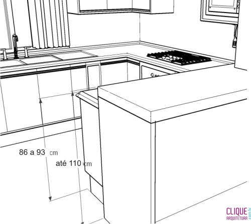 Bancadas de Cozinha  Clique Arquitetura # Altura Ideal Pia De Banheiro