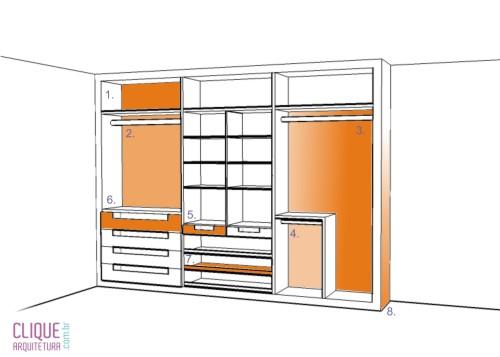 Tamanho Ideal Para Porta De Quarto ~ Partes de um closet Fonte Portal Clique Arquitetura