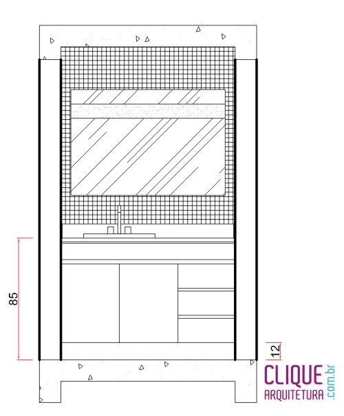 Banheiro Ergonomia & Circulação  Clique Arquitetura -> Altura Ideal Pia De Banheiro