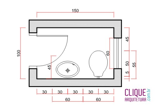 Banheiro Ergonomia & Circulação  Clique Arquitetura -> Tamanho Minimo Para Banheiro Com Banheira