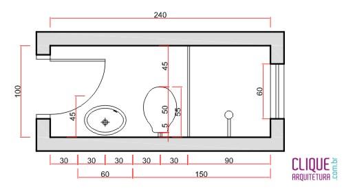 Largura Minima Porta Banheiro : Banheiro ergonomia circula??o clique arquitetura