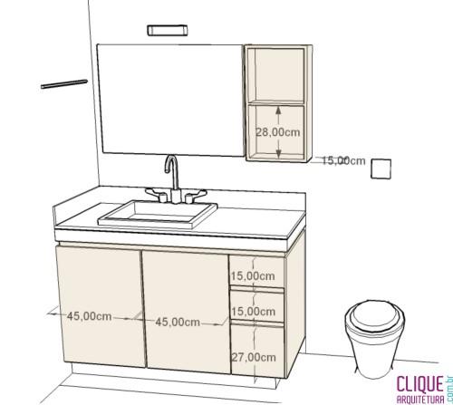 BanheiroLavabo Escolhendo o Mobiliário  Clique Arquitetura -> Altura Do Armario De Banheiro