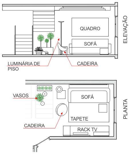 Medidas Minimas Para Sala De Estar ~ Outro exemplo de projeto que setoriza o espaço da sala de estartv e